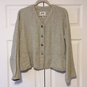 FLAX | 100% Linen Button Cardigan with Pockets M